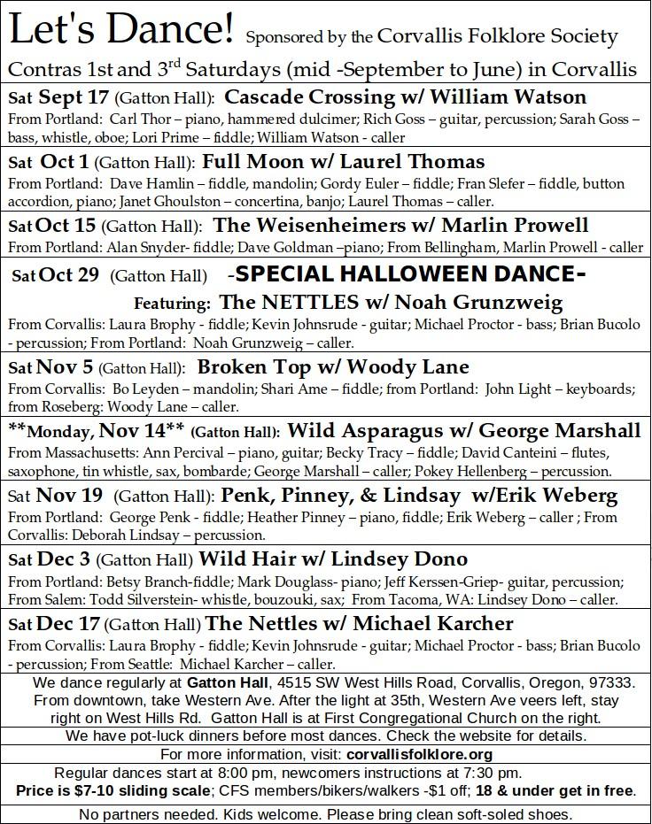Contra Schedule Fall 2016