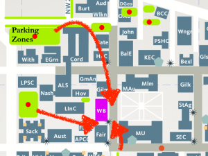 map to Women's Building with parking areas highlighted, walking paths are arrows