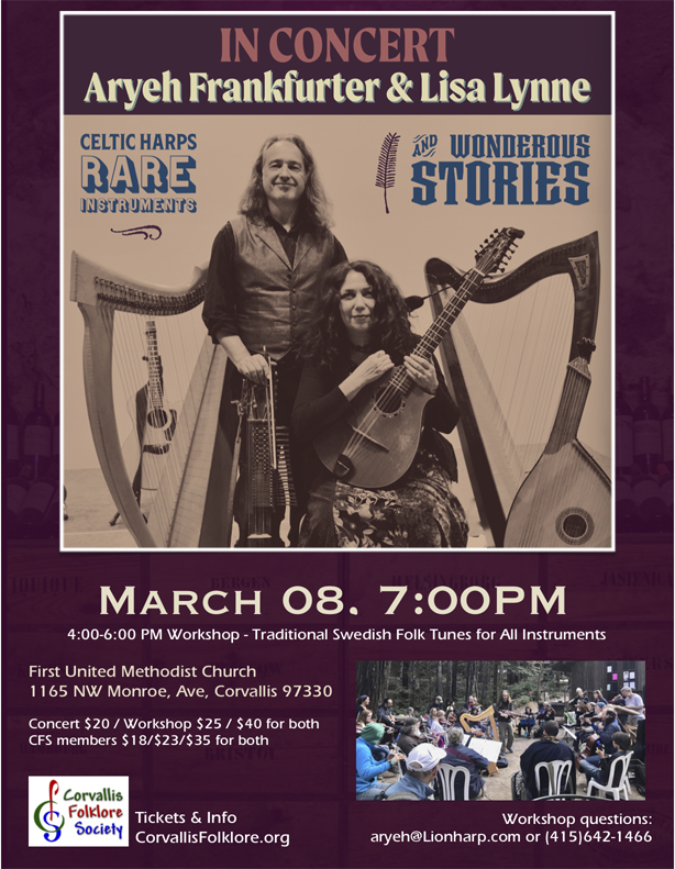 Celtic Harps, Rare Instruments & Wondrous Stories with Lisa Lynne & Aryeh Frankfurter @ First Methodist Church, upstairs room